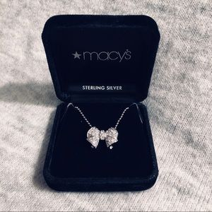 Macy's sterling silver & CZ bow pendant necklace